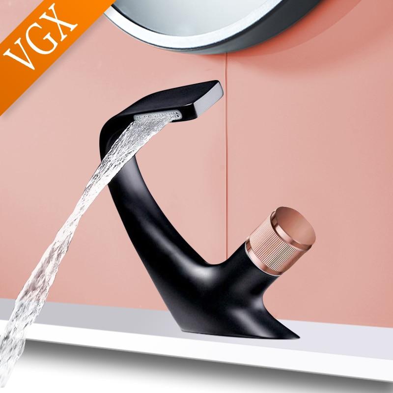 VGX حوض للحمام بالوعة خلاط حنفية الحمام مغسلة الصنابير الباردة والساخنة المياه الحنفية النحاس النحاس الفن الحنفيات الذهب الأسود كروم F614-101