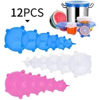 meijuner 12 pcs food silicone fresh keeping cover round multi function bowl cover refrigerator microwave sealed plastic wrap