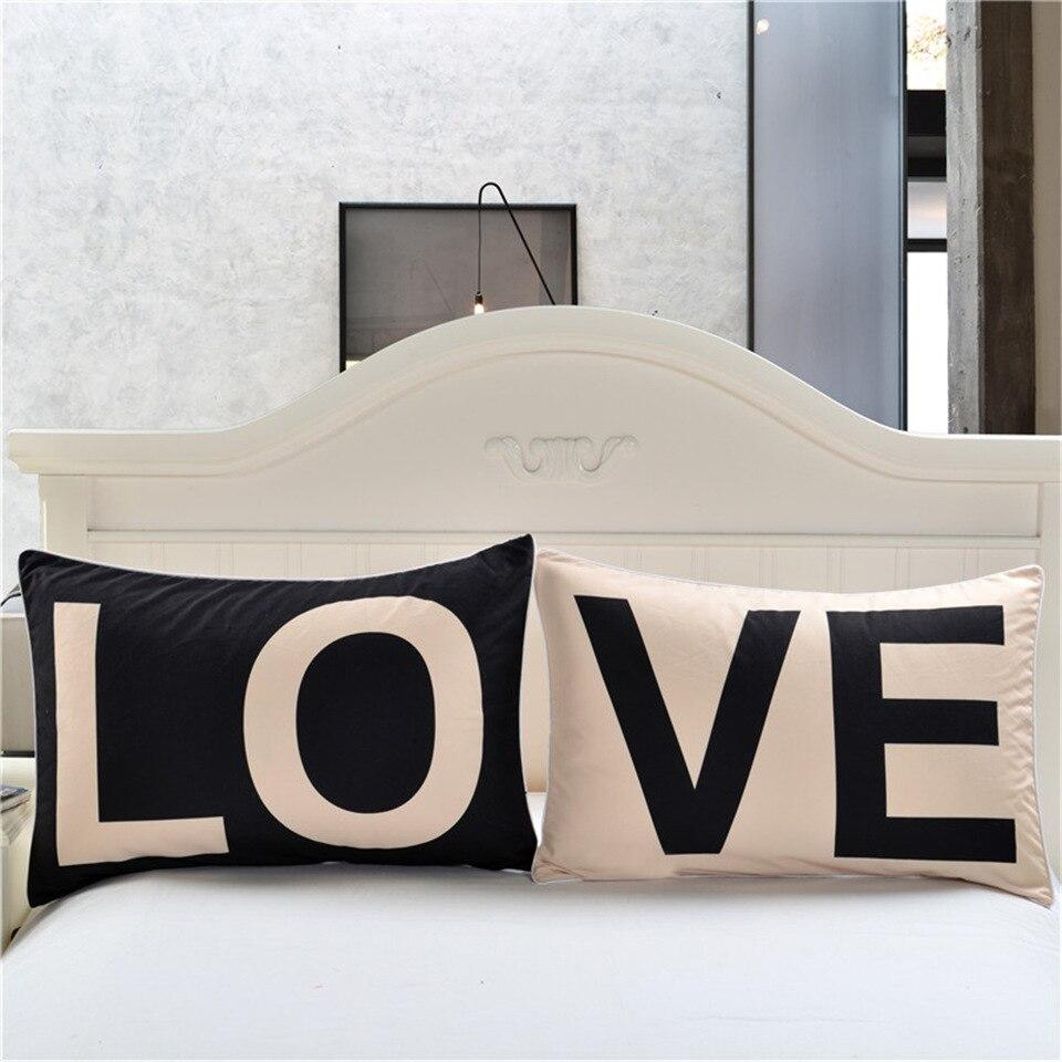 الحب رسالة مطبوعة سادات PE15 وسادة تغطي الفراش 2 قطعة 50*75 50*90 مستطيل زوجين وسادة للديكور حالات البوليستر