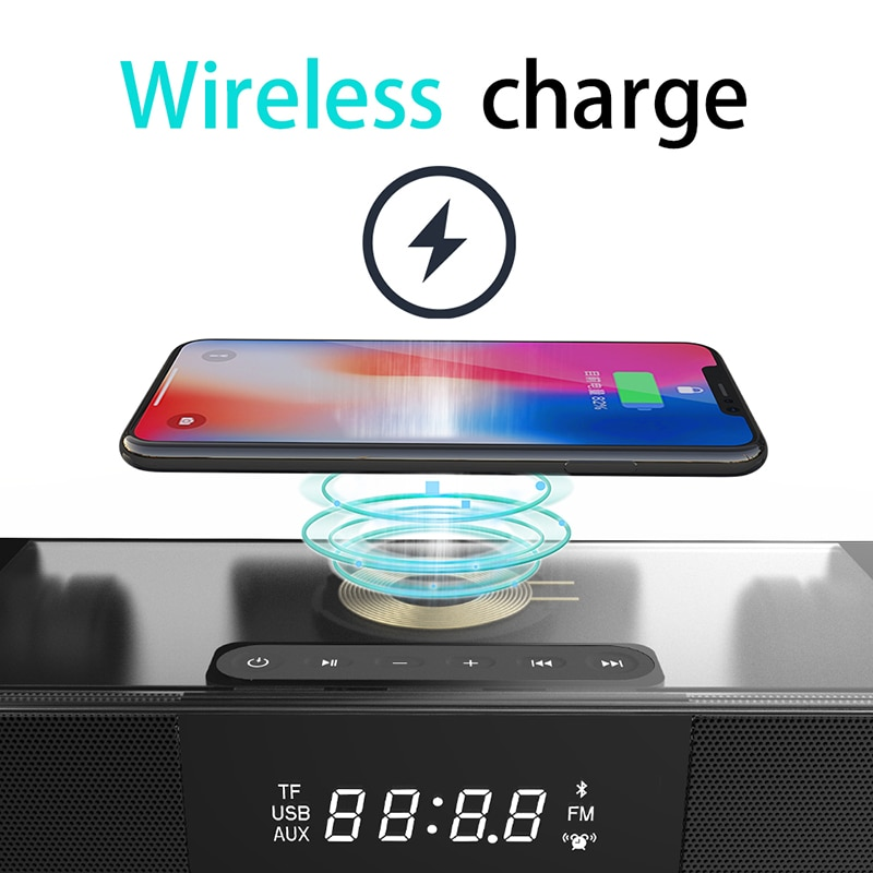 Rsionch Clock Speakers Home Theater TV Speaker for Computer Music Center Bass Stereo System Sound Bar Subwoofer Wireless Charger enlarge
