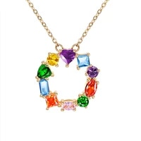 jeroot trendy colorful cubic zirconia sweater copper pendant gold color flower style women necklace for office lady gift