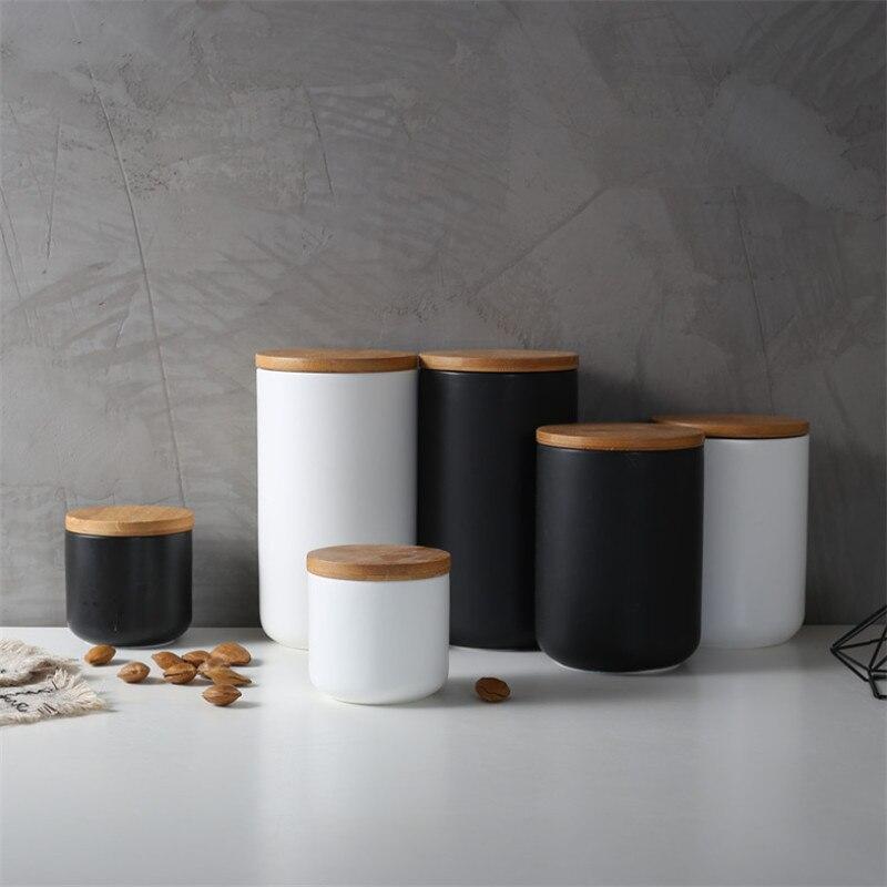 Recipiente de cerámica sellado para cocina minimalista de estilo nórdico, recipiente para guardar especias, recipiente con tapa de madera, botella de almacenamiento para sal, café, té y Caddy