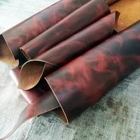 new arrive crazy horse flame pattern genuine leather for diy leather craft for belt wallet bag shoes 2 0mm