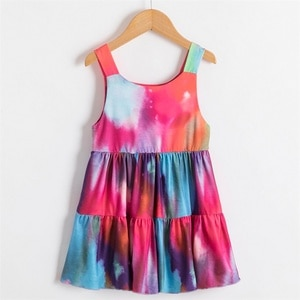 Girls Holiday Beach Dress 2021 Spring Summer Sleeveless Colorful Printing Sundress For Girls Fashion Party Costume Vest Dress