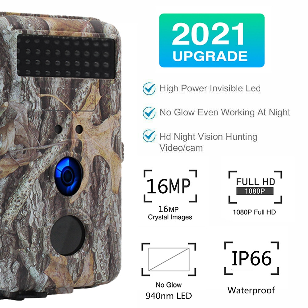 Trail Camera 4K 16MP 1080P Hunting Game Night Vision Motion Activated Waterproof Scouting Infrared Detecting Range Wildlife Cam
