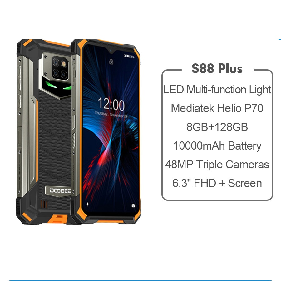 DOOGEE S88 Plus Global Version Rugged Mobile Phone IP68/IP69K 8GB 128GB ROM Smartphone Android 10000mAh Battery 48MP Camera