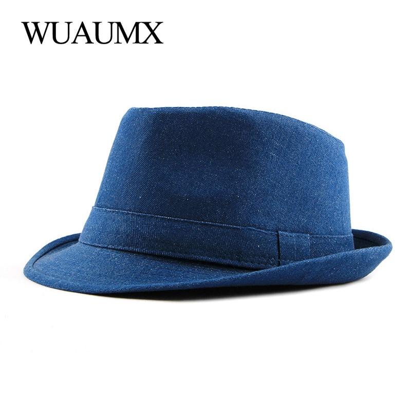 Wuaumx Spring Summer Men's Hat Solid Fedoras Hat For Men Women Retro Denim Bowler Hats Gentleman Jazz Caps Adult Classic Fedoras