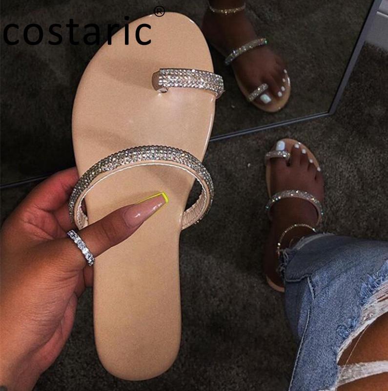 Shiny Rhinestone Women Slippers Rainbow Ladies Shoes and Sandals Round Toe Casual Slides Snake Pattern Peep Toe Flip Flops