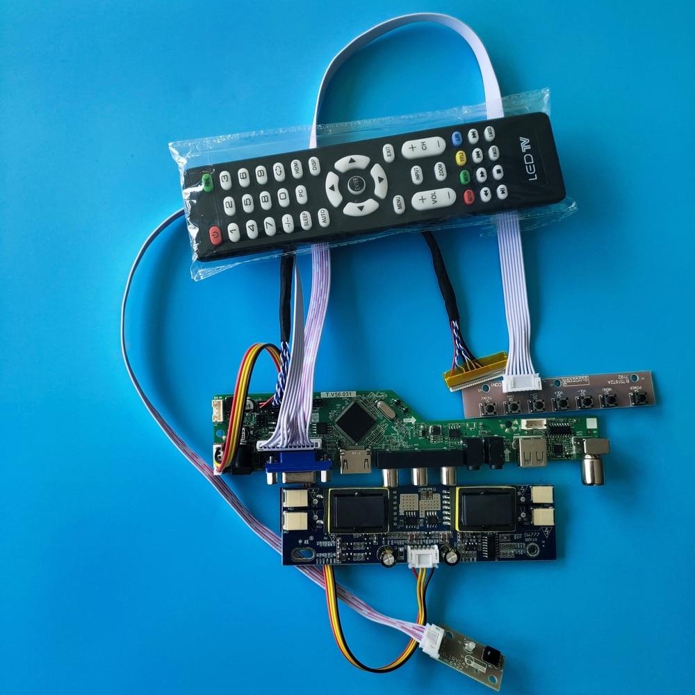 "Para resolución de LM201WE3-TLF1 30pin 1680X1050 20,1 ""interfaz USB kit de placa controladora LCD señal Digital AV tarjeta de TV 4 lámparas"