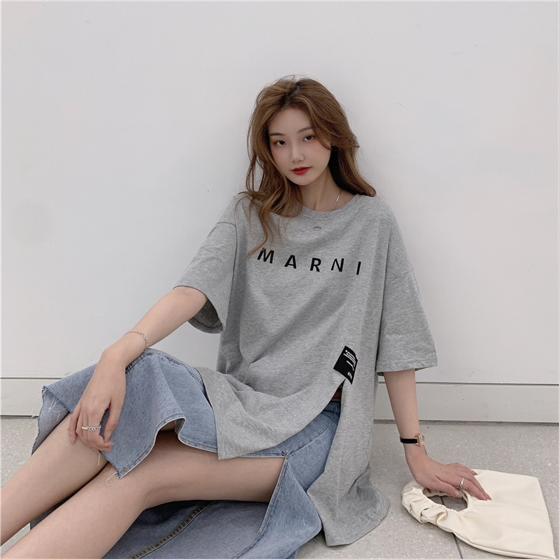 2021 Letter Printing Loose Leisure All-Matching Tee Shirt Femme Harajuku Summer Top Korean Clothes T