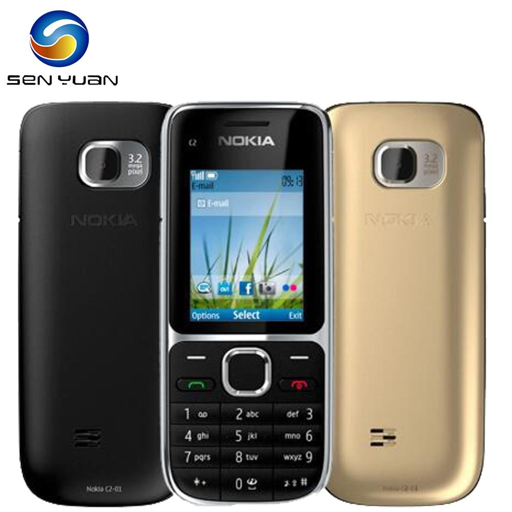 "Original Nokia C2-01 Unlocked Mobile Phone C2 2.0"" 3.2MP Bluetooth Russian&Hebrew keyboard Refurbished GSM/WCDMA 3G Phone"