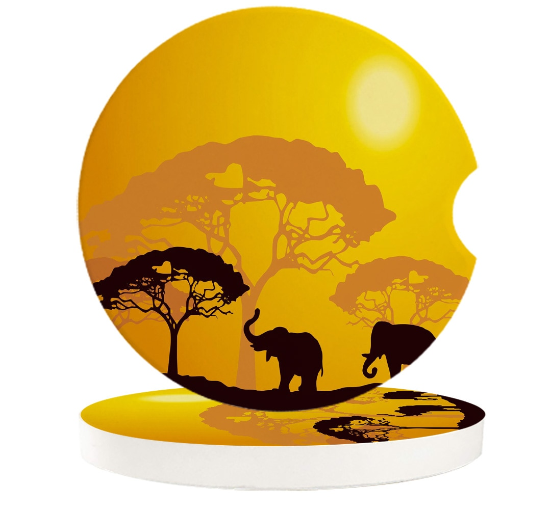 2 4 6pcs/set Ceramic Car Coaster Waterproof Elephant Forest Jungle African Nature Car Cup Drink Mat Car Decoration Accessories