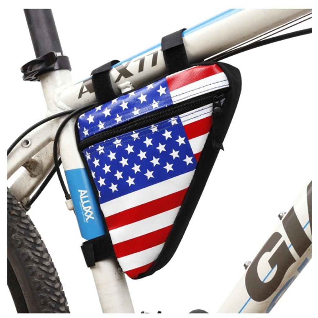 Bicicleta bicicleta bolsa impermeable superior tubo frontal triángulo bolsa bolsas de bandera americana asiento Pack de teléfono Accesorios