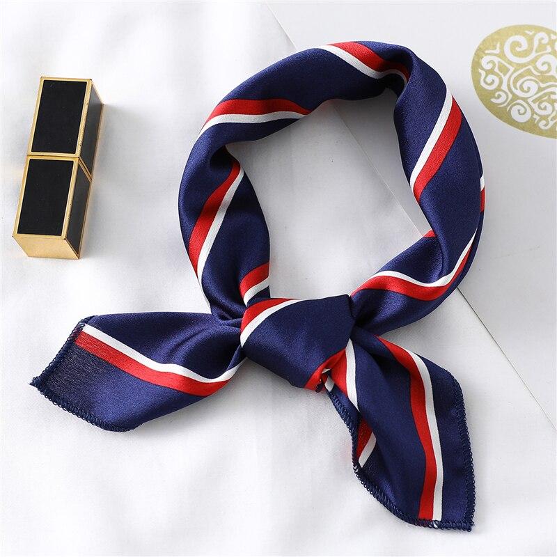 Шелковый квадратный шарф для женщин с модным принтом, платок с атласной шеей для волос 2020