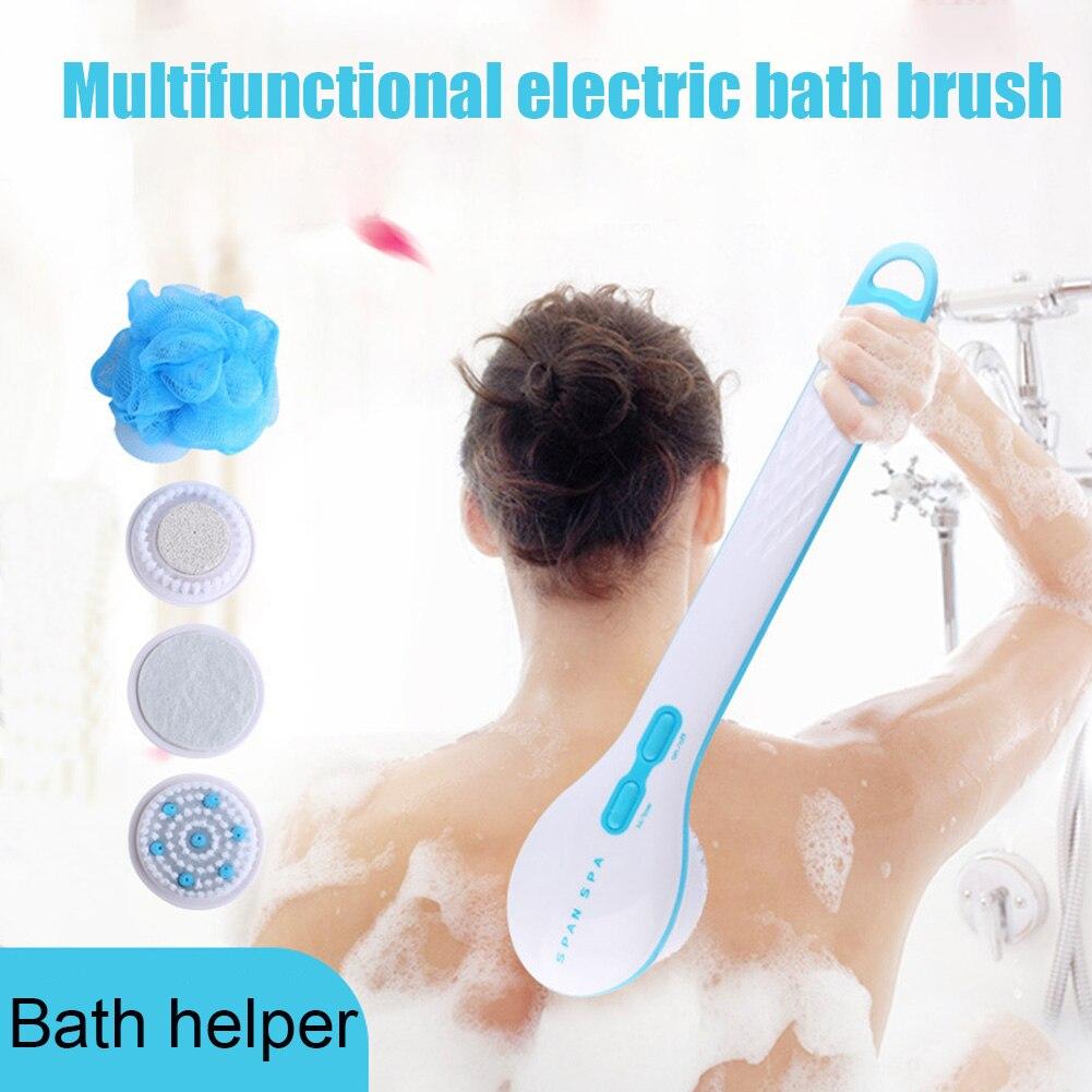 5 In 1 Elektrische Lange Griff Dusche Pinsel mit Ersetzen Toten Schwämme Pinsel Haut Remover Gesundheit Pflege Bad Massage Hygiene wäscher