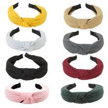 Креативный новый вязаный головная лента с бантом крест галстук Корейская версия Дамы Ткань крест завязанный широкополый аксессуары для волос