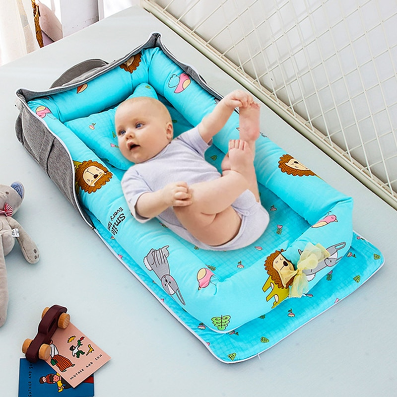 Portable Crib Middle Bed Back Storage Isolation Protection Removable and Washable Stereotyped Pillow Case Baby Nest Crib Bag Set