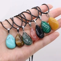 2021new natural semi precious stone drop shaped pendant necklace black rope chain multi stone diyexquisite necklace jewelry gift