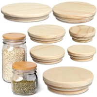 various sizes wooden kitchen organization bottle sealing caps wood lids canning storage wide mouth cover mason jar lid