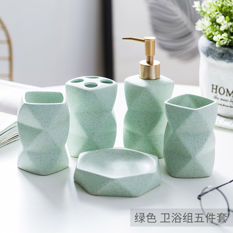 Bathroom Set Ceramic Soap Dispenser Toothbrush Holder Cup Soap Dish Tray Kitchen Liquid Dish Container Decoration Accessories enlarge