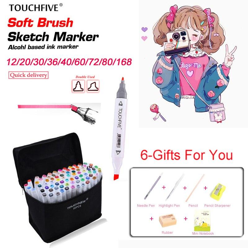 TouchFIVE Art marqueurs stylo ensemble 20/30/40/60/80/168 couleurs croquis marqueur à base dalcool Manga double tête dessin pour Art pinceau stylos