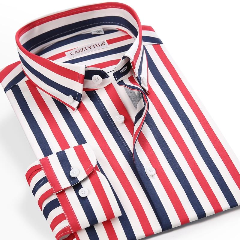 الرجال التباين عادية عمودي ملون مخطط قميص pockeبلا تصميم مريح القياسية صالح زر أسفل قمصان طويلة الأكمام