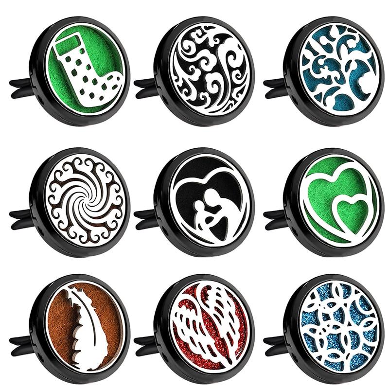 Asas de Anjo Aromaterapia Purificadores de Ar Do Carro Preto brilhante Clipe de Aço Inoxidável Medalhão Colar Perfume Carro Difusor do Óleo Essencial