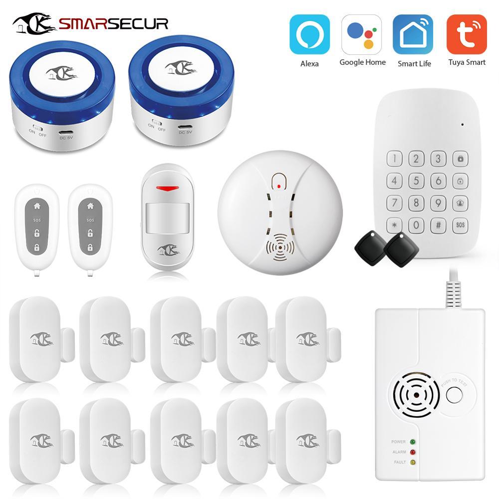 Система сигнализации Tuya для умного дома, Wi-Fi, сирена, комплект сигнализации для умного дома, бесплатное приложение, совместимы с датчиками с...