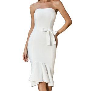 2020 Women Sexy Summer Strapless Celebrity Party Bodycon Bandage Dress vestido White Color Drop Shipping