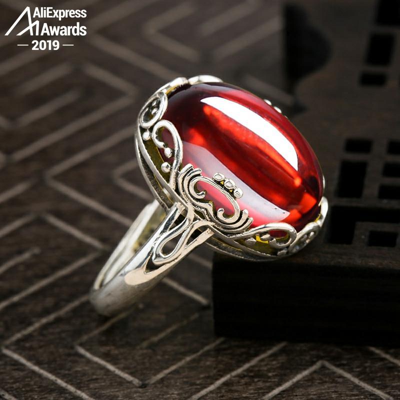 13*18mm 6,18 venta S925 plata esterlina Australia rubí anillos buen gusto artesanía piedra preciosa Calcedonia Retro