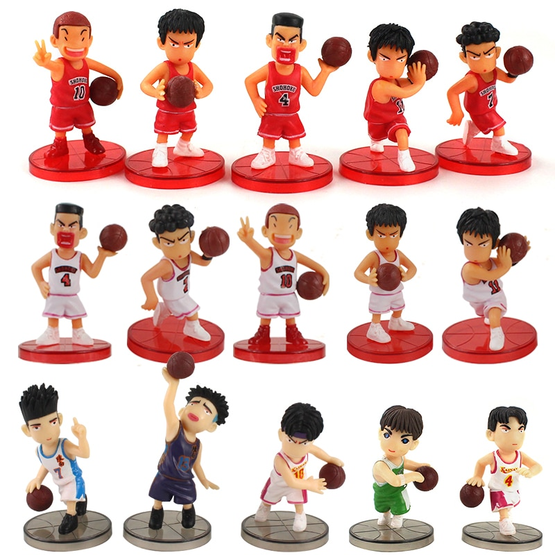"15 unids/set SLAM DUNK Shohoku jugador de baloncesto juguetes Hanamichi Rukawa ""Akagi"" Miyagi Mitsui Hisashi Anime modelo Juguetes"