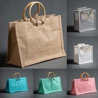 portable reusable jute shopping bag eco friendly burlap large capacity handbag new arrival 2021