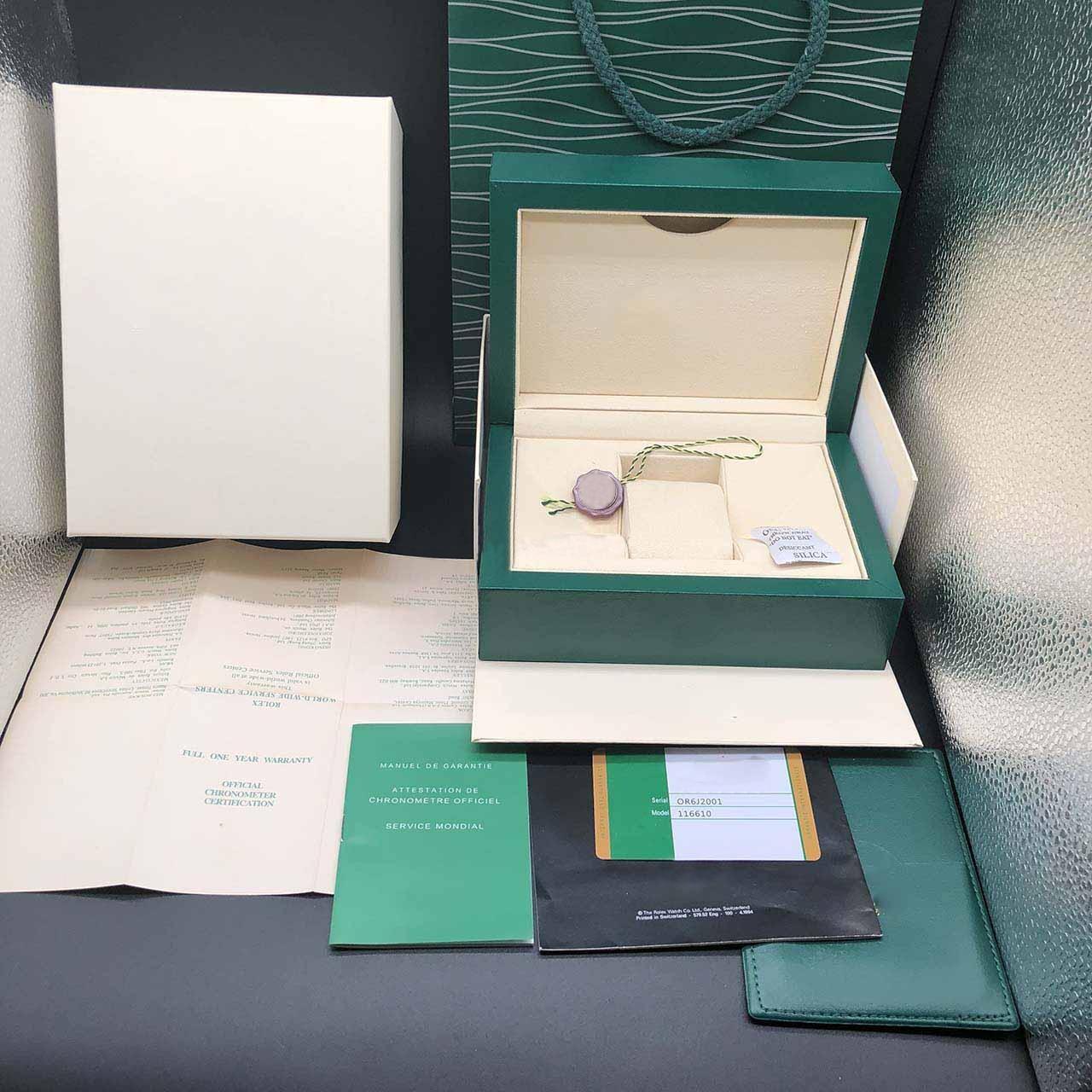 ساعة فاخرة عالية الجودة ماركة خضراء أصلية صندوق رجالي ساعات صناديق جلدية حقيبة بطاقة العلامات أوراق باللغة الإنجليزية لعام 116610