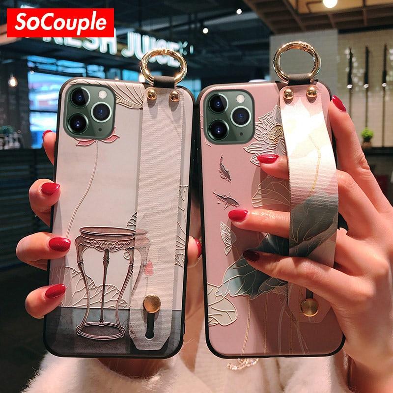 Чехол SoCouple для телефона iphone X Xs max XR 8 7 6s plus 12mini 11 Pro Max SE, мягкий чехол-держатель из ТПУ с цветочным рисунком лотоса и ремешком на запястье
