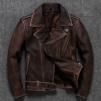 2020 vintage brown men bikers style jacket plus size xxxxxl genuine thick cowhide slim fit leather coat free shipping