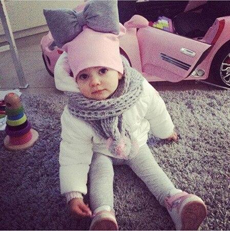 2019 primavera niños pequeños niños bebé algodón colorido gran corbata de moño grande boina de lana gorro para niñas Nudo de mariposa Melamed