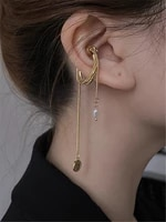 pearl chain magnets clasp long tassels ear bone earring vintage court wind elegant temperament jewelry women wedding accessories