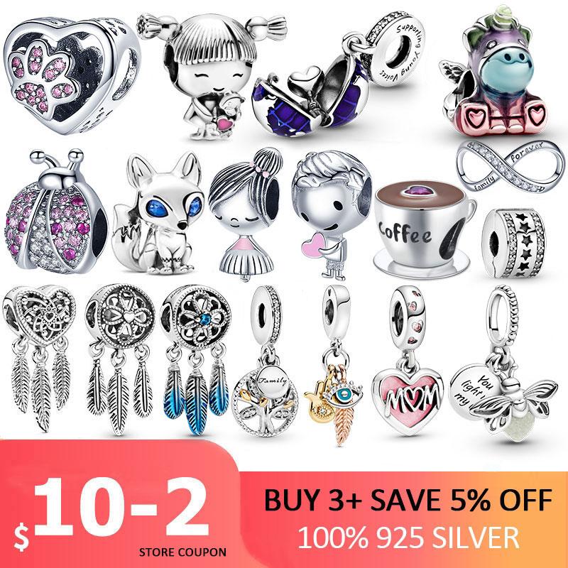 Cuentas de 100% Plata de Ley 925 pisadas de Pata de Gato, amuletos de corazón de amor, aptas para Pulsera Original, joyería de plata 925