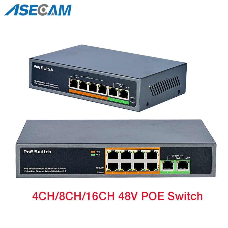 CCTV POE Switch 48V IP Camera With 100Mbps Ports IEEE 802.3 af/at Ethernet Switch Suitable for Wireless AP POE Surveillance enlarge