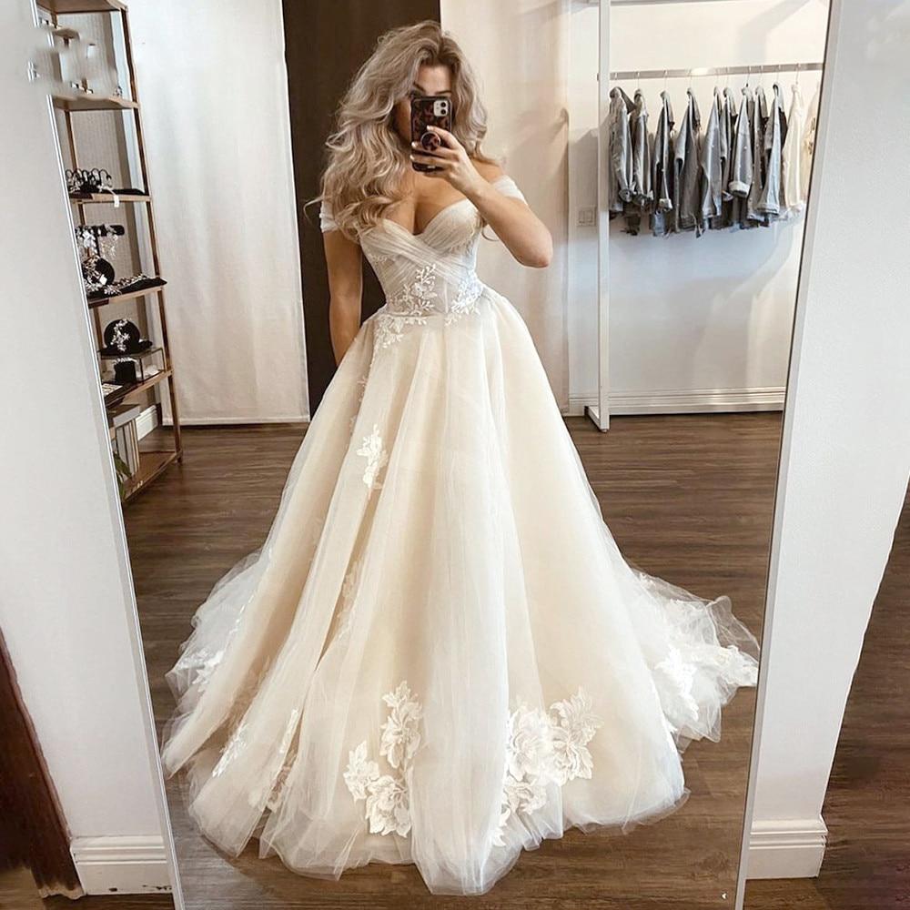 Дешево, новый дизайн, с открытыми плечами, цвета слоновой кости, а-силуэт, Милое Свадебное Платье, Свадебные Платья 2021