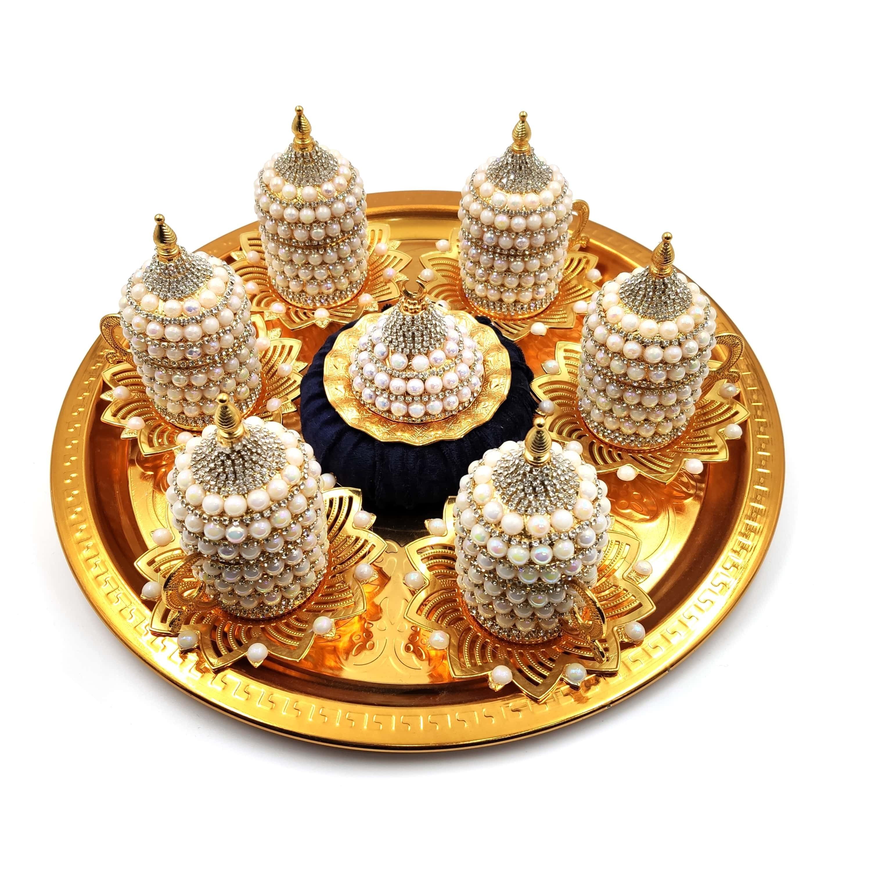 Set of 6 Swarovski Turkish Coffee Cups Set Arabic Coffee Set Handmade Tea Cups Set Set in Espresso Copper Coffee set