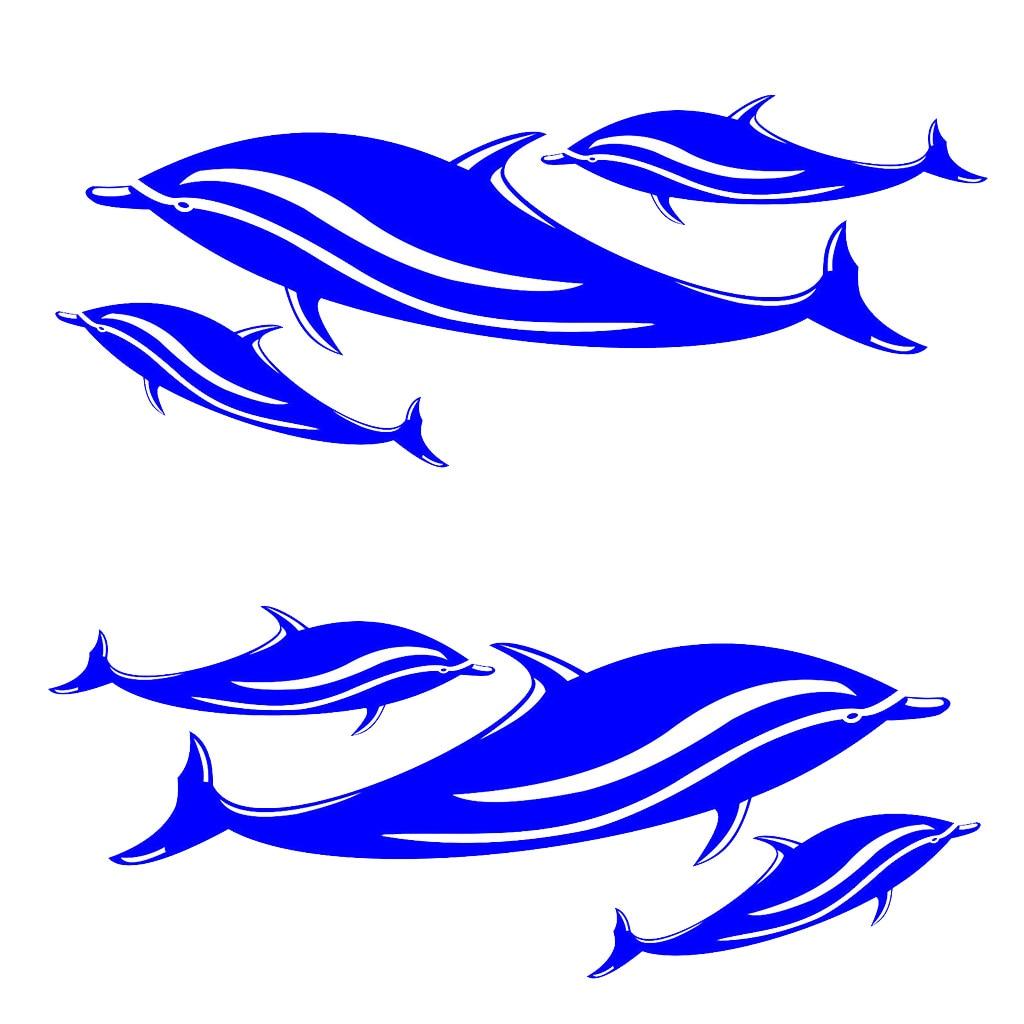 2 unids/set (6 delfines) vinilo Canoa Kayak pesca Ocean Boat Dinghy tabla de surf Jet Ski calcomanías Adhesivos para coche accesorios de decoración