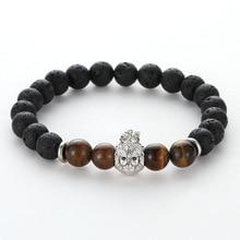 New Micro Inset Zircon Crown Lion Head Gold Alloy Spacer Jewelry Women Men Fashion Black Volcanic Stone Beads Bangles Bracelet