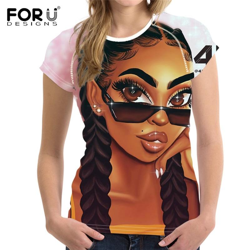 FORUDESIGNS, camiseta negra con estampado artístico para chicas, Camiseta de algodón negra de verano Magic Rock para chicas africanas, camisetas estéticas