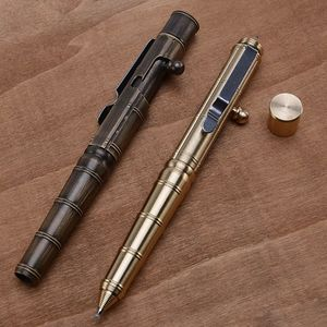 Solid Brass Gel Ink Pen Retro Bamboo Node Bolt Action Writing Tool Stationery