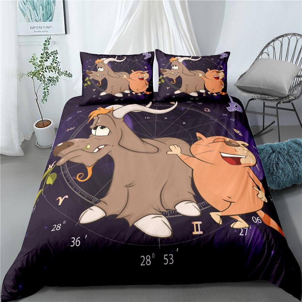 Постельное белье с 3D мультяшным рисунком, милый пододеяльник, забавное одеяло, комплекты постельного белья из 3 предметов, одиночное постел...
