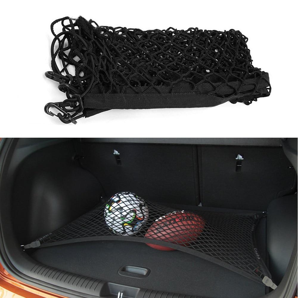 Accesorios para coche para Hyundai Kona Encino 2016 2017 2018 2019, organizador de carga trasera para maletero, soporte de red elástico de almacenamiento, 4 ganchos