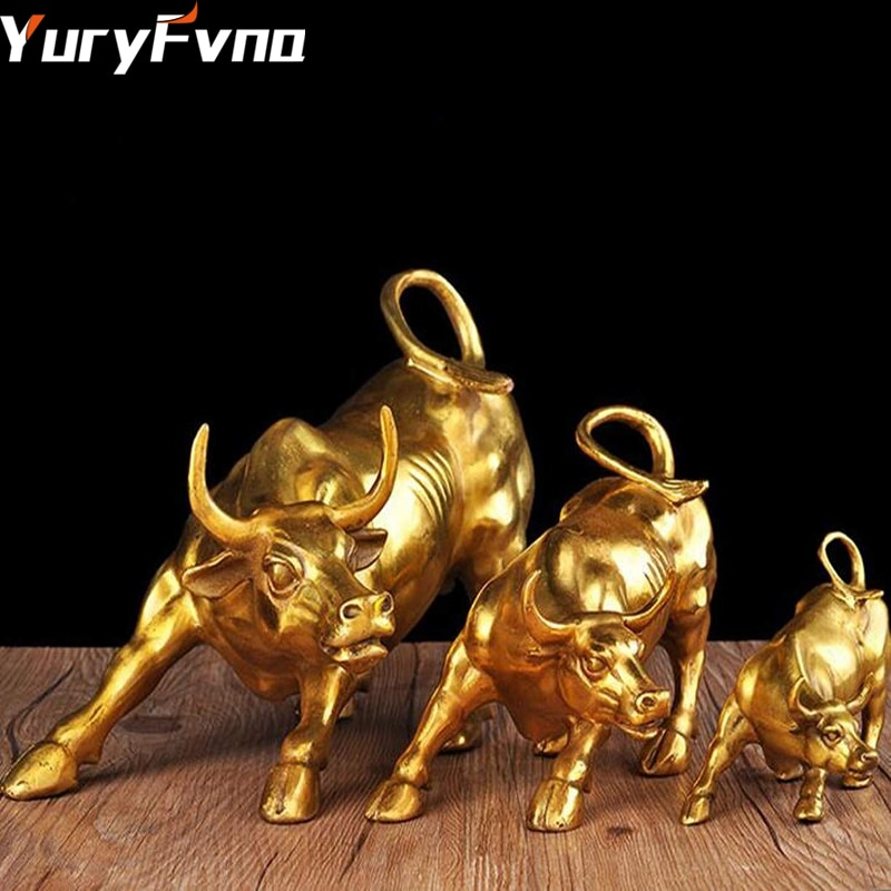 YuryFvna-تمثال ثور ذهبي ، 3 أحجام ، ديكور منزلي ومكتب ، تمثال ثور