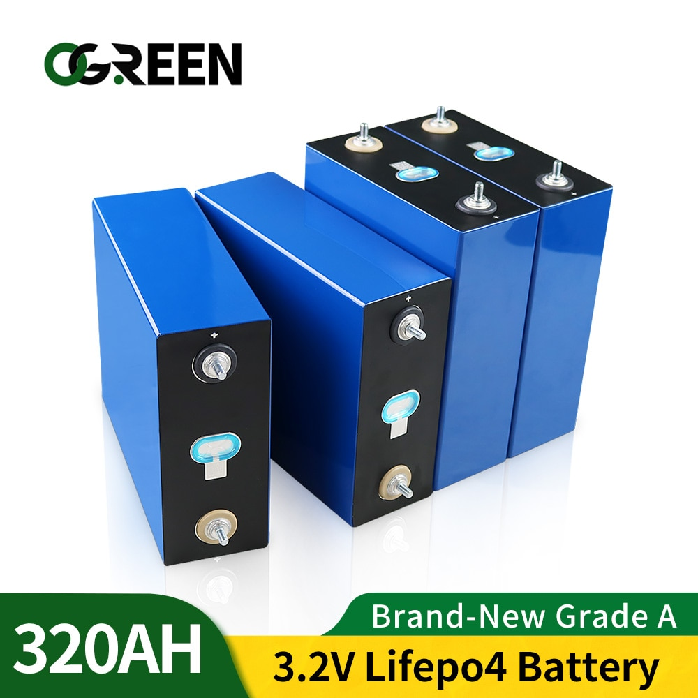 Lifepo4  Rechargeable Battery Pack 3.2V 310AH BRAND NEW 4PCS 12V 320AH Grade A DIY Cells EU US Tax Free With Busbars