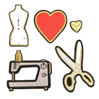 cool sewing machine tailor scissors embroidered patches iron on red heart badges clothing trimming appliques for clothing coats